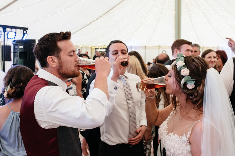 bride and groom jaeger bombs