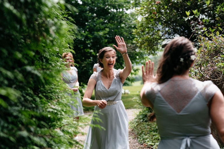 bridesmaid high five