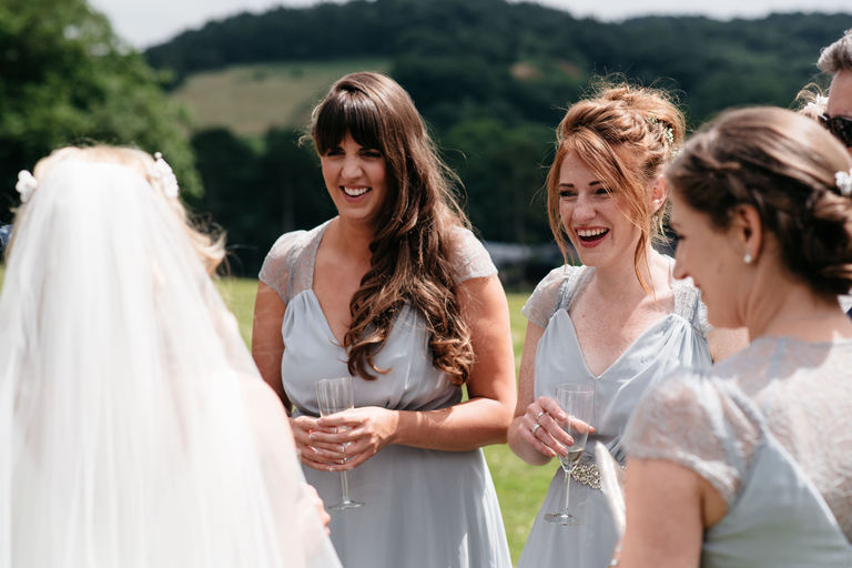 happy smiling bridesmaids
