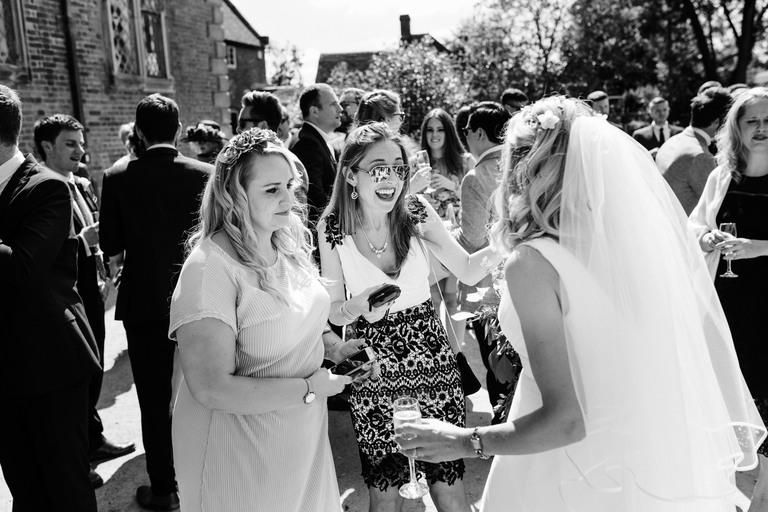 female friends congratulate the bride