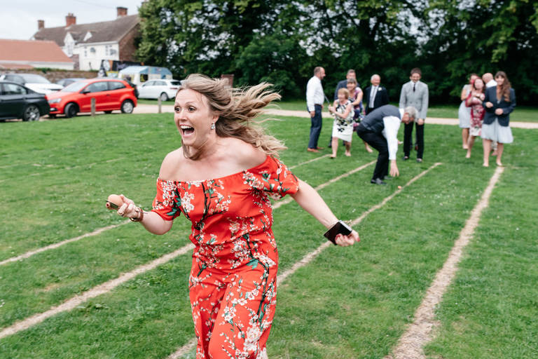 egg and spoon race at a wedding