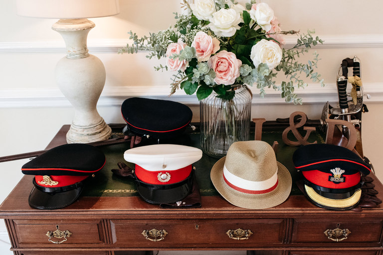 a row of military hats
