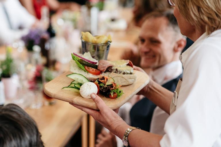 rustic wedding food being served