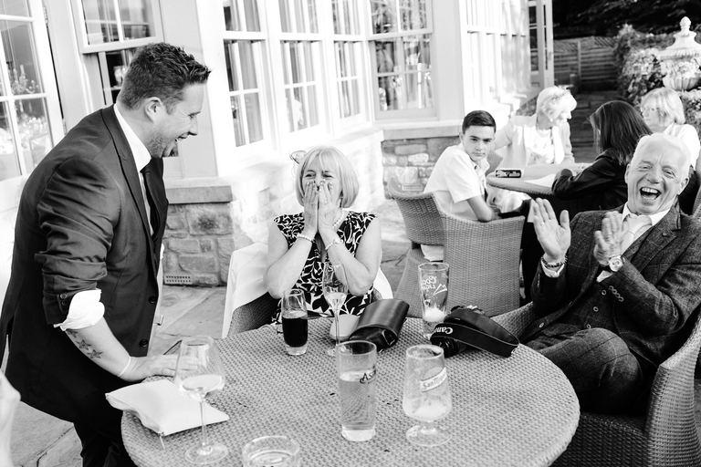wedding magician entertaining guests