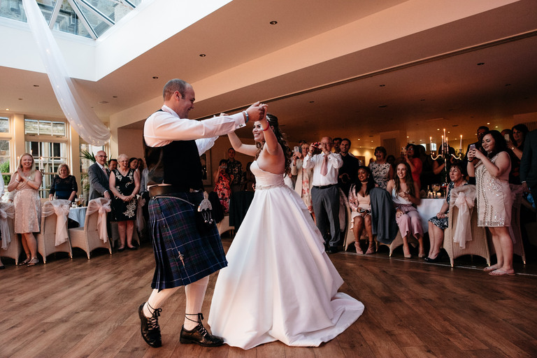 couple's first dance at mitton hall hotel