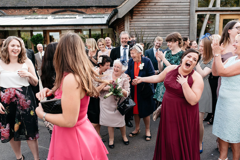 granny catches the bouquet