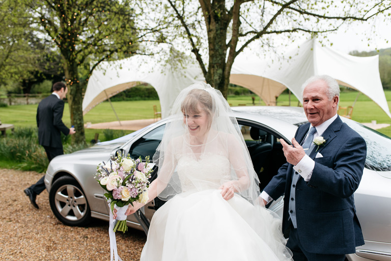 bride with father tithe barn