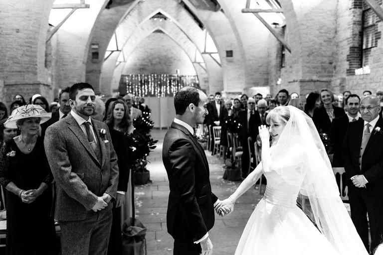 crying bride at tithe barn
