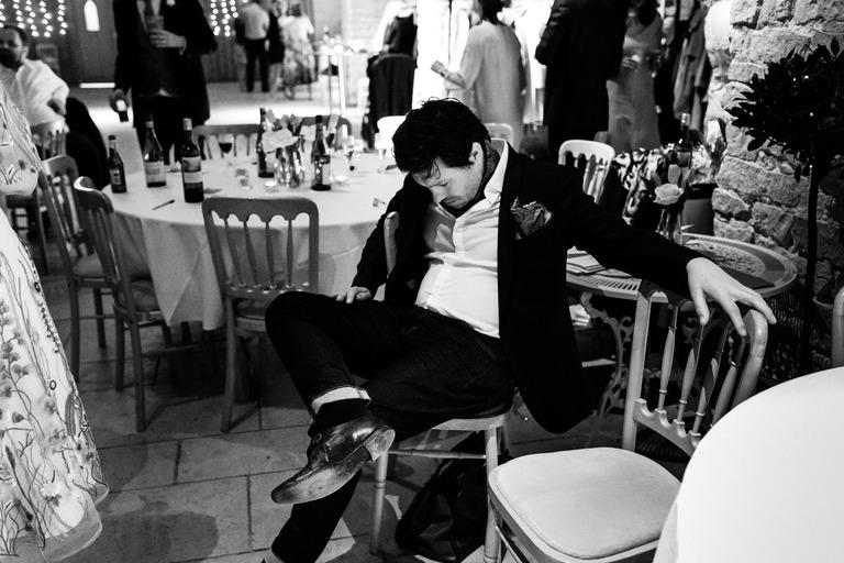 drunk guest asleep