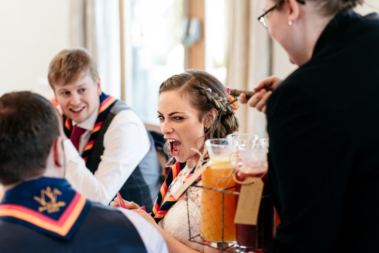 bride excited about fruit punch