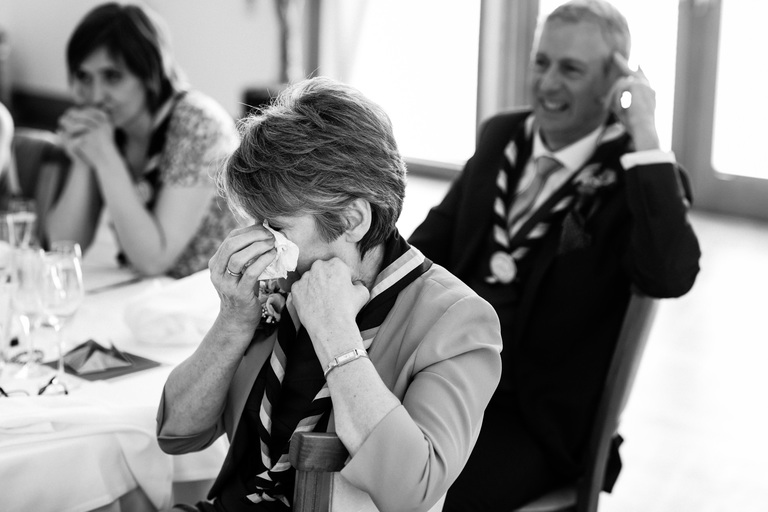 mother of the groom crying during speeches