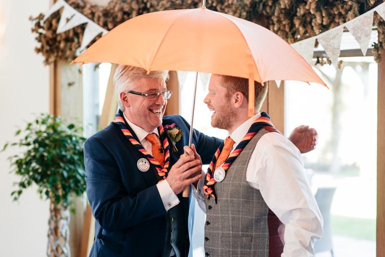 best man's speech with umbrella