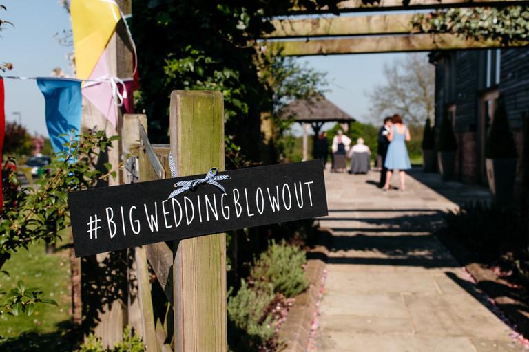 big wedding blowout chalk sign