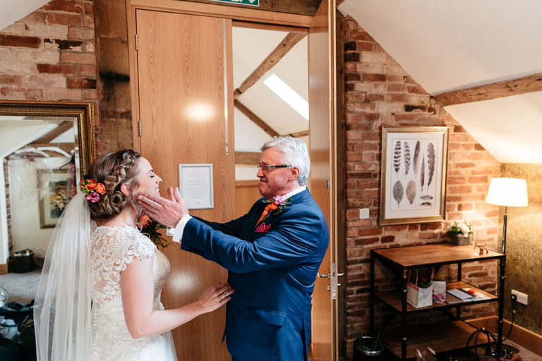 bride and her father at mythe barn