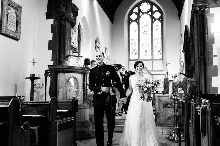 just married at holme pierrepont church