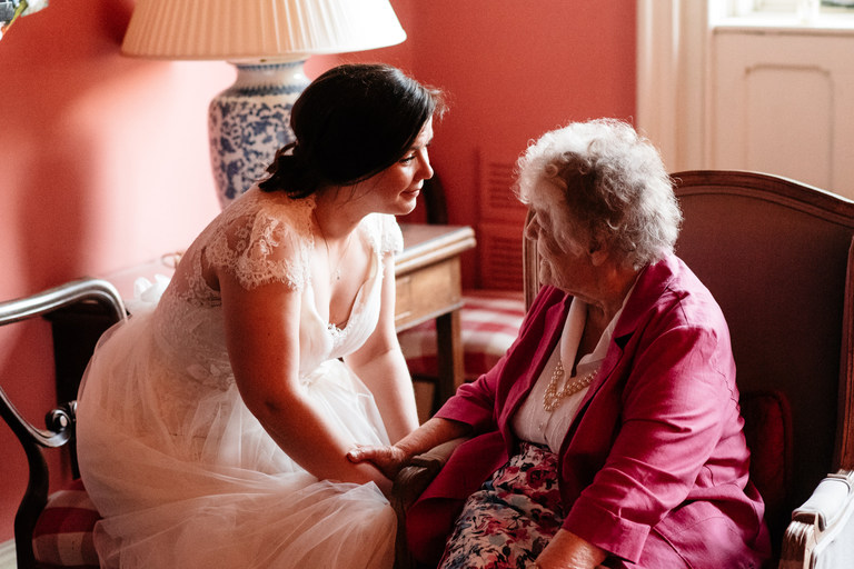 sharing a touching moment with grandma
