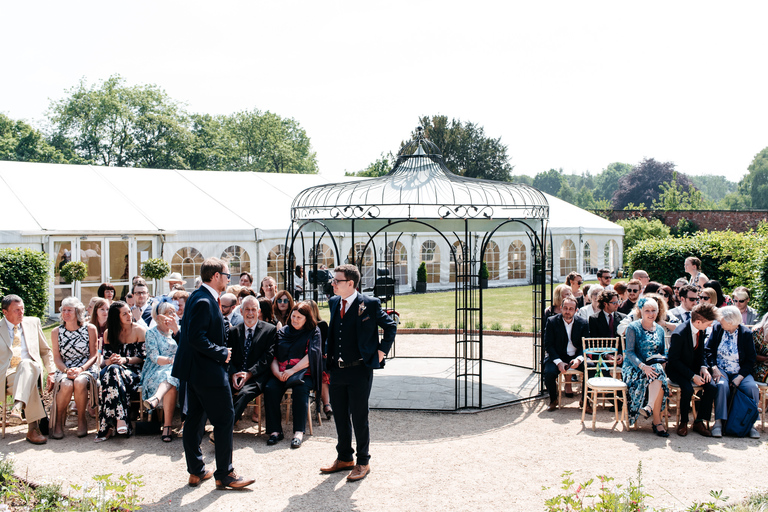 outdoors wedding ceremony at walled gardens