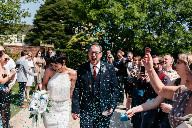 confetti tunnel at beeston fields wedding venue
