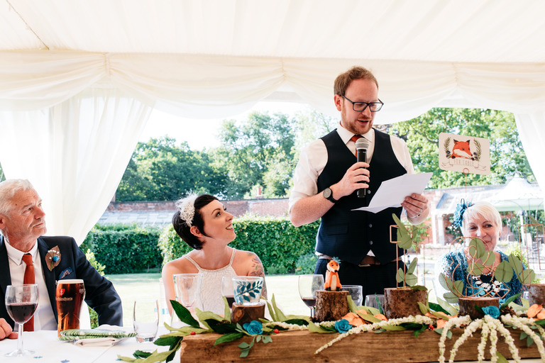 groom's speech in a marquee in summer