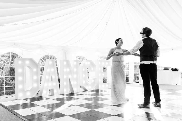 first dance on chequered dance floor
