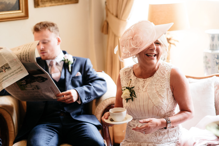 mother of the bride enjoying a cuppa
