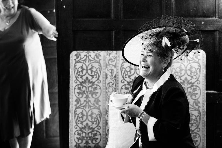 mother of the groom enjoying a cuppa