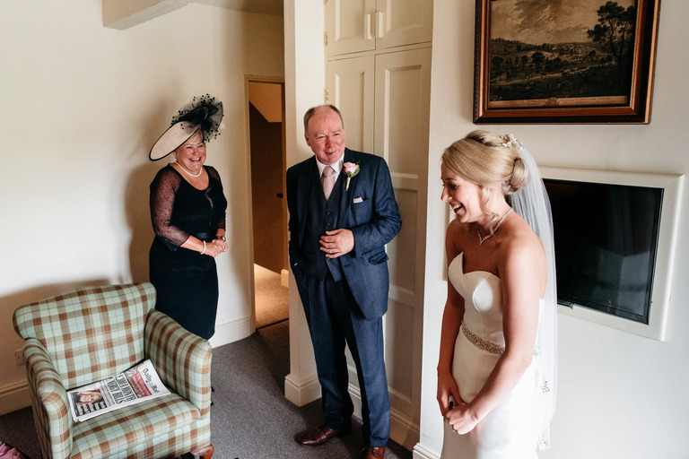 bride with her mum and dad