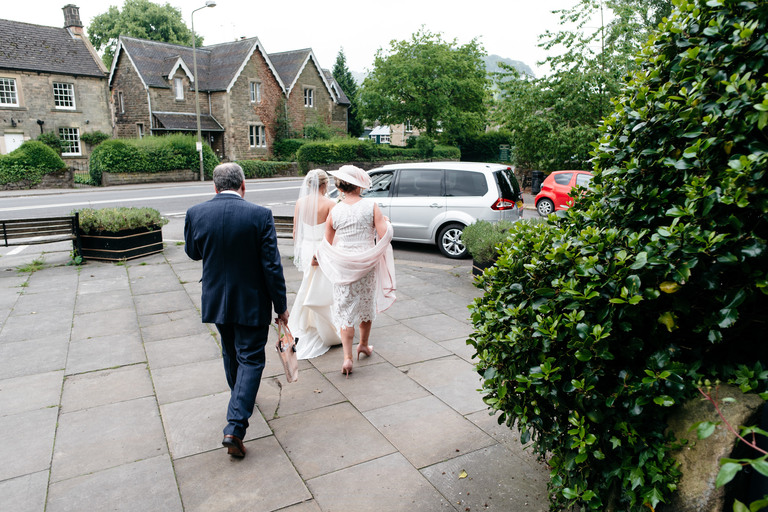 bride on her way to the wedding venue