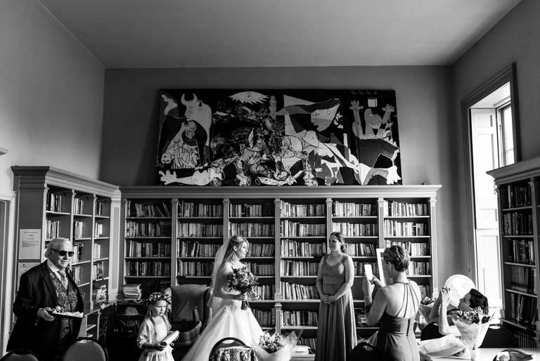 bride getting ready in hampton court house library