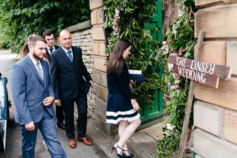 guests arriving at the reception venue country house
