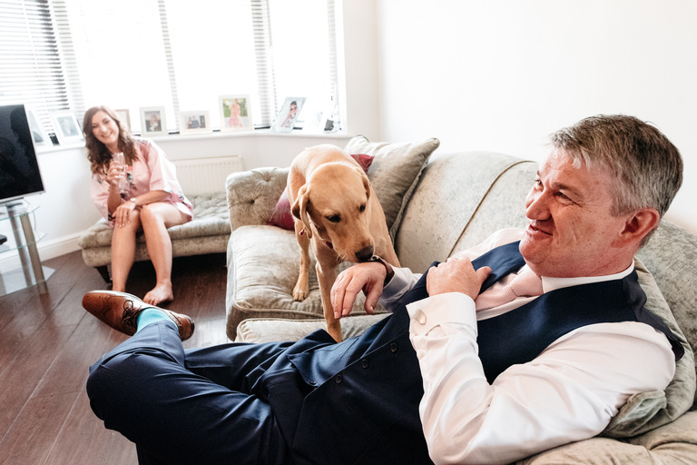 dog with bride's father