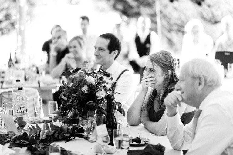 emotional bridesmaid during bride's speech