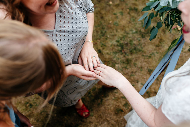 admiring the wedding ring