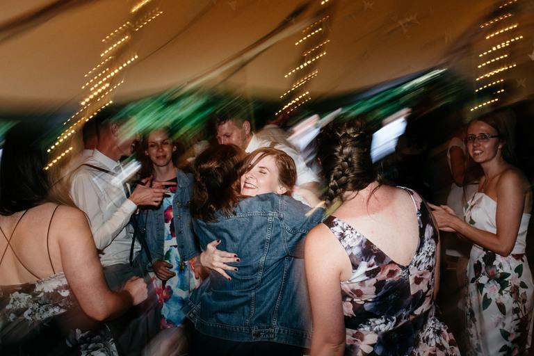 bride hugging on the dance floor
