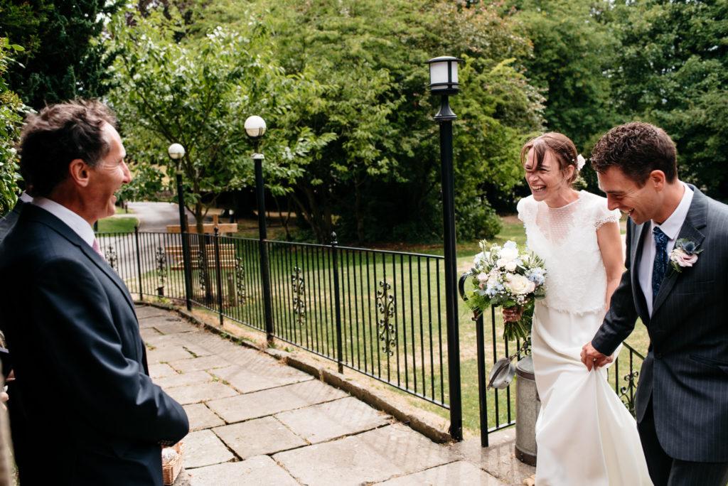 happy bride meets her groom