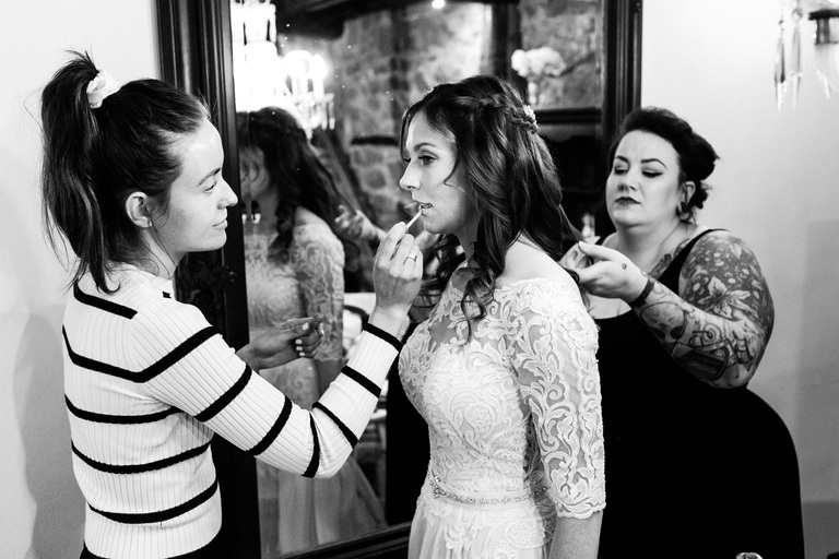 last minute hair and makeup adjustments