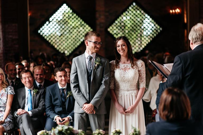 happy couple at a barn wedding in warwickshire