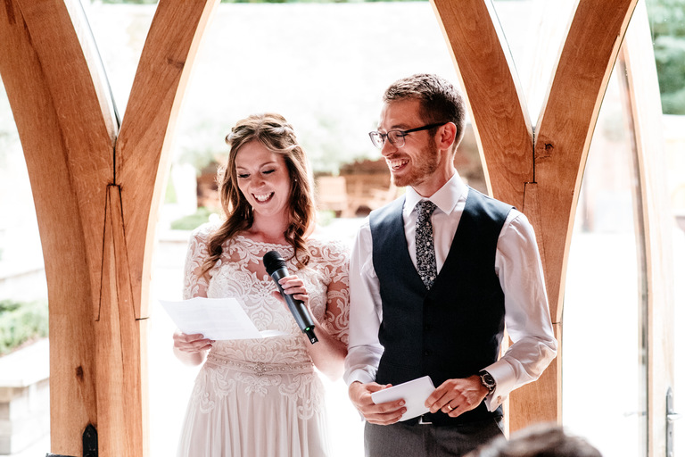 newlyweds give a joint speech