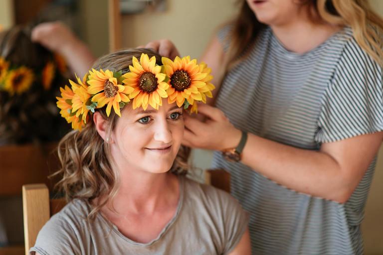 bride flower crown sunflowers