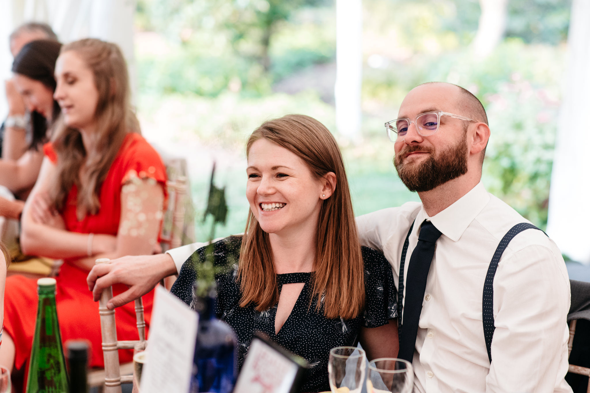 big smiles during the wedding speeches