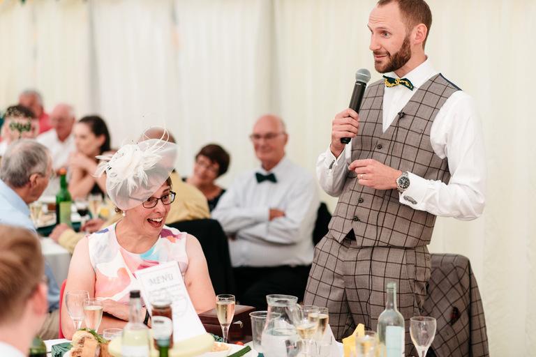 groom's speech making his mum laugh