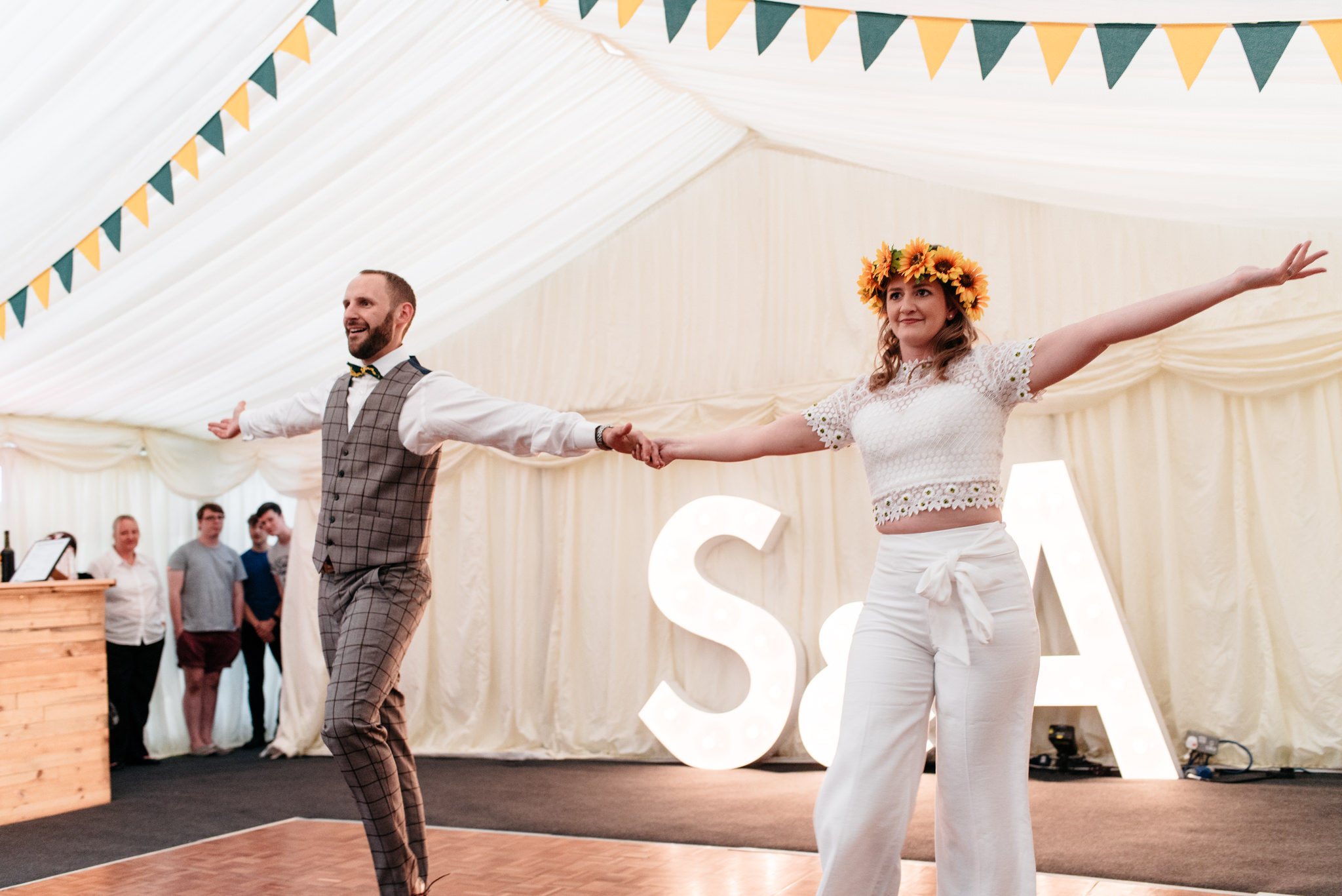 bride wearing trousers for first dance