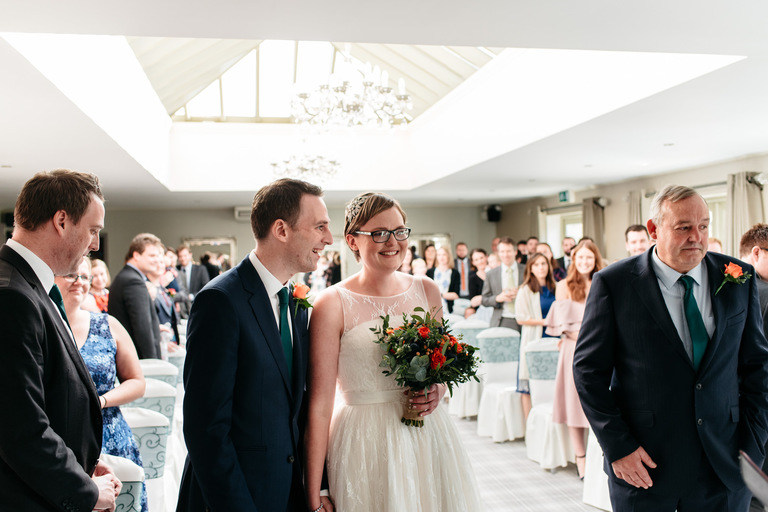 excited couple getting married at peak edge hotel