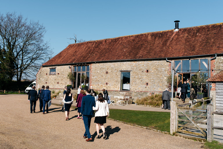 guests arriving at grittenham barn