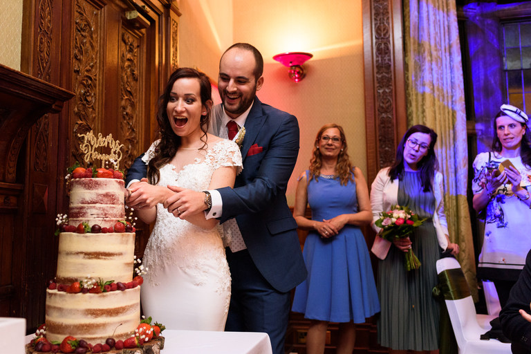 cutting the cake at breadsall priory