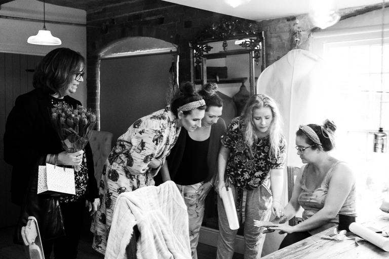 getting ready with bridesmaids
