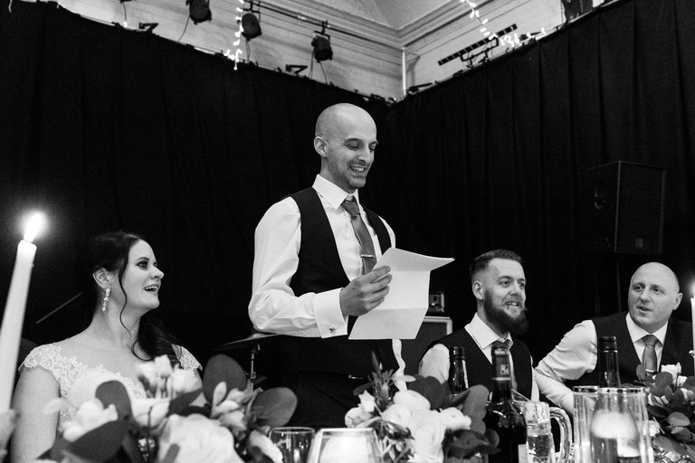 smiling groom's speech
