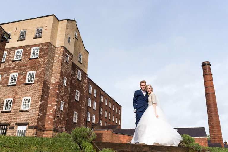 industrial bridal portrait at west mill in derby
