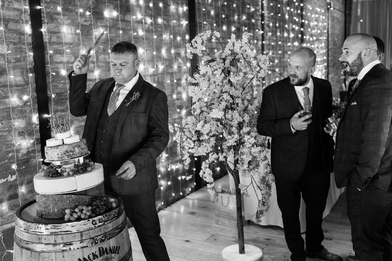 best man attacking the cheese cake
