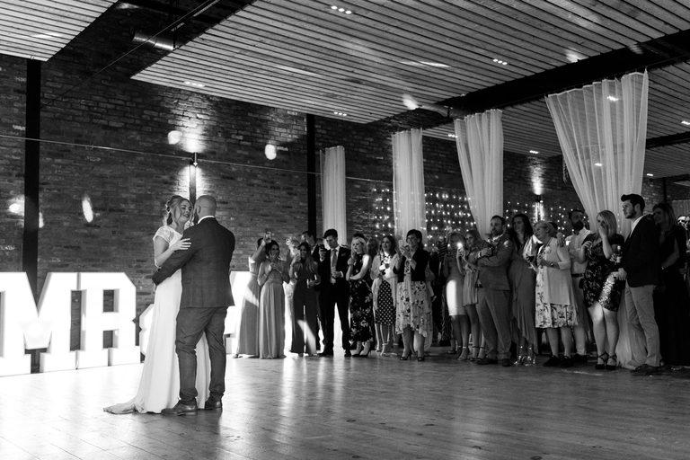 newlyweds first dance at norton fields